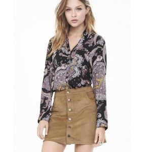 Express Womens Portofino Paisley Button Up Blouse